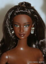 Gorgeous AA African American Barbie Doll Raven Hair, Curls Green Eyes NUDE
