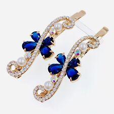 USA SELLER Bobby Pin Rhinestone Crystal Hair Clip Hairpin Bowknot Blue H18