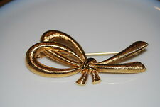 Metal Large Bow Satin Finish Pin Elegant Vintage Couture Monet Gold Toned