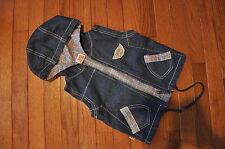 ECKO UNLTD boy/girl blue denim Convertible Hooded Vest Fall 18 months EUC!