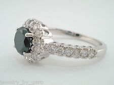 PLATINUM FANCY ENHANCED BLACK & WHITE DIAMOND COCKTAIL RING 1.73 CARAT HANDMADE