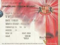 Ticket - Sunderland v West Ham United 17.02.01 FA Cup