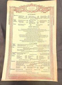 Locke-Ober Restaurant Boston Mass Luncheon Menu 1990