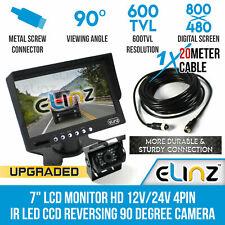 """7"""" HD LCD Monitor 12v/24v IR CCD 4pin Car Reversing Camera Truck Caravan Elinz"""