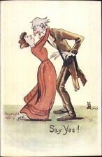 PCK Comic - Tall Man Short Woman SAY YES c1905 Postcard