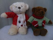 Lot of 2 Hallmark Plush Teddy Bears Winter Holiday Christmas Collectible #1709