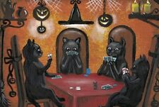 LE HALLOWEEN POSTCARD 13/100 RYTA VINTAGE STYLE PAINTING CAT WITCH 4x6 POKER
