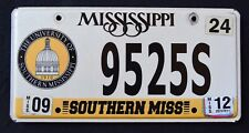 "MISSISSIPPI ""  UNIVERSITY OF SOUTHERN MS "" 2012 SPECIALTY  Graphic License Plate"