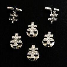 33rd Degree I.G.H. Shirt Stud & Cuff Link Set with Hand Set Crystals (33-SSLC)