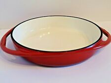 "Vintage Bruntmor Enameled Cast Iron Casserole Dish Baking Frying Pan Red 9.5"""