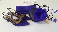 New Jacques Vert Shoes Bag Fascinator~ Size 6 /39 ~ Blue Black ~ Matching Set