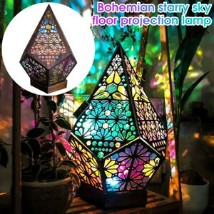 Colorful Bohemian Mosaic Starry Sky Floor Projection Lamps Table Bedside Light
