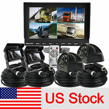 "US Stock 9"" Quad Monitor+4x CCD Side View Reversing Camera 4x 10m For Truck Bus"