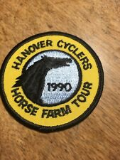 """Vtg Hanover Cyclers Horse Farm Tour Sew On Patch 3"""" Embroidered 1990"""
