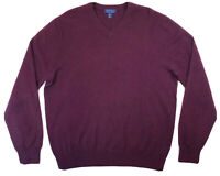 ALLEN SOLLY Mens Size XL 100% Cashmere Sweater Red Maroon V-Neck Long Sleeve EUC