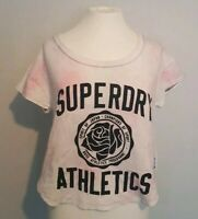 Women's Superdry White Cropped T-shirt pink floral tye dye S boxy loose 8/10 uk