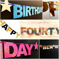 Personalised 40th Happy Birthday Banner Bunting Party decor forty