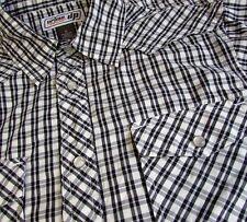 Western Men's Shirt Medium Pearl Snap Black Plaid Urban Pipeline Short Sleeve