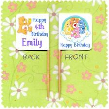 20 PERSONALISED CARE BEAR CUP CAKE FLAG Party Pick Food Topper Birthday