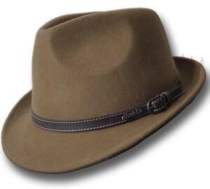 【oZtrALa】 Trilby Felt Hat Australian Wool Leather Band Fedora Fur Men Women HW03