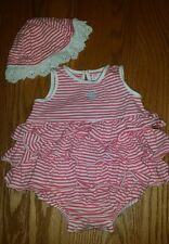 CHAPS BABY GIRL DRESS WITH MATCHING SUN HAT SIZE 6 MONTHS