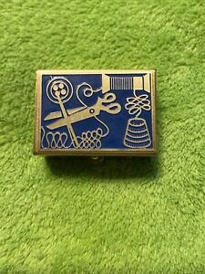 Vintage Needle Metal Small Case Sewing Tool  Engraved Pocket Box