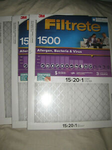 """3 Filtrete 1500 High Performance Air Filters by 3M - 15"""" x 20"""" x 1"""""""