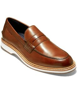 Cole Haan Men Moc Toe Penny Loafers Morris Size US 9.5M British Tan Leather
