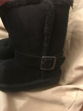 *Arizona* Toddler Girls Black Fur Trim/Lined Boots with Buckle- Size 5M