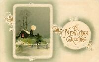 DB Embossed Postcard E443 A New Year Greeting Cottage Full Moon Snow Germany