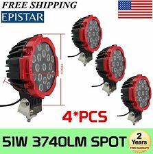 "4Pcs 7"" inch 51W Round CREE LED Work Lights Spot Offroad Boat ATV SUV Truck Lamp"