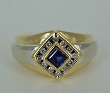 Men's Two-Tone Gold Diamond & Sapphire Ring