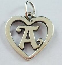 RETIRED James Avery Sterling Silver Cursive Letter A Inside a Heart Charm