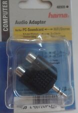 E1 HAMA AUDIO Adapter für PC Soundcard Hifi / Stereo 3,5 mm Klinkenstecker plus