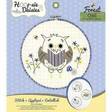 Rachel Rose Owl Hoop-sie Daisies Embroidery Needlepoint Stitch Kit 8 Inch Round