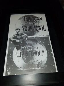 Elvis Costello This Town Rare Original Radio Promo Poster Ad Framed!