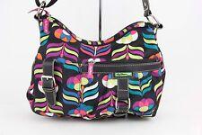 Lily Bloom XBODY Black Purple Multi Silver Hardware Multi Pcket Shoulder Bag 276