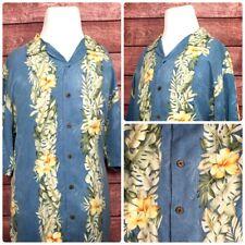 Tommy Bahama Mens Hawaiian Silk Shirt SS Palm Trees Floral Blue Green Size Large