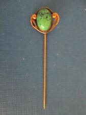 antique vintage CHRYSOPRASE STICK PIN Gold Fill ART NOUVEAU