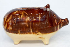 ANTIQUE Vintage 1800s Yellow Ware PRIMITIVE FOLK ART Stoneware Pottery PIG BANK