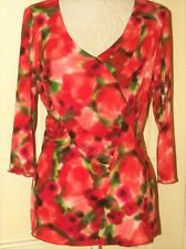 New Size 18 Per Una Top Red Coral Semi Fitted Design New + Tags