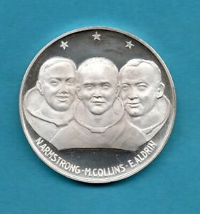 1oz SILVER, 1969 FIRST MAN ON MOON MEDAL / MEDALLION. ARMSTRONG COLLINS ALDRIN.