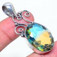 "Bi-Color Tourmaline Gemstone Handmade Ethnic Jewelry Pendant 2.05"" VS-323"