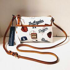 $148 Dooney&Bourke MLB LA Dodgers Coated Cotton Leather GINGER Crossbody, White