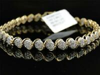 5Ct Round Cut Round Cut Diamond Cluster Tennis Bracelet 14K Yellow Gold Over
