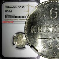 AUSTRIA Franz Joseph I (1848-1916)Silver 1849 A 6 Kreuzer NGC MS64 GEM KM#2200