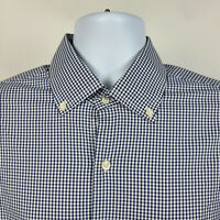 Peter Millar Summer Comfort Blue Gingham Check Mens Dress Button Shirt Large L