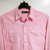 Polo Ralph Lauren Men's L Large Pearl Snap Western Shirt Pink Button Down