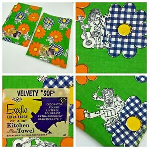 2 Vintage 1970s Excello Kitchen Dish Towels Hippy Band Flower Power Print NWT K3