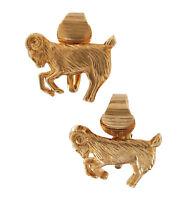 Capricorn Zodiac Horoscope Sign Clip On Earrings Gold Tone Vintage